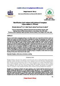 Identification of salt resistant wild relatives of mungbean (Vigna radiata (L.) Wilczek)