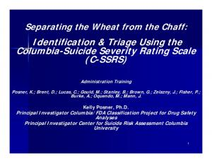 Identification & Triage Using the Columbia-Suicide Severity Rating Scale (C-SSRS)