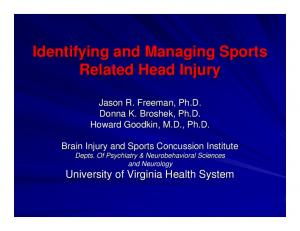 Identifying and Managing Sports Related Head Injury