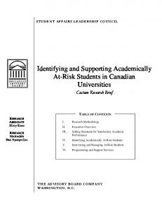 Identifying and Supporting Academically At-Risk Students in Canadian Universities