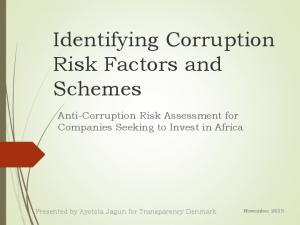 Identifying Corruption Risk Factors and Schemes