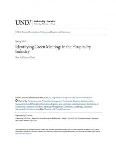 Identifying Green Meetings in the Hospitality Industry