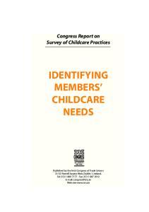 IDENTIFYING MEMBERS CHILDCARE NEEDS