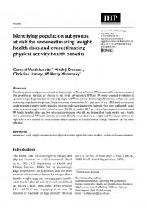 Identifying population subgroups at risk for underestimating weight health risks and overestimating physical activity health benefits
