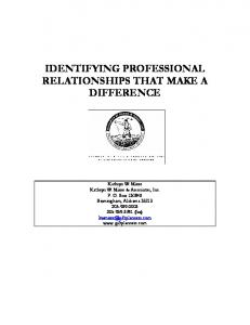 IDENTIFYING PROFESSIONAL RELATIONSHIPS THAT MAKE A DIFFERENCE