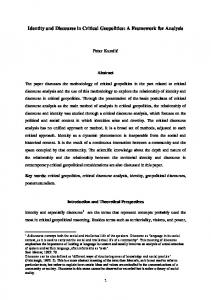 Identity and Discourse in Critical Geopolitics: A Framework for Analysis