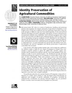 Identity Preservation of Agricultural Commodities