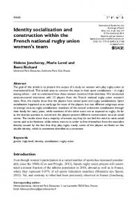 Identity socialization and construction within the French national rugby union women s team