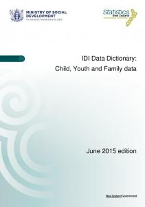 IDI Data Dictionary: Child, Youth and Family data