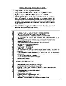 IDIOMA ITALIANO PROGRAMA DE NIVEL 2