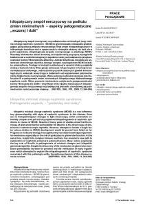 idiopatyczny zespó³ nerczycowy na pod³o u zmian zmian minimalnych aspekty patogenetyczne