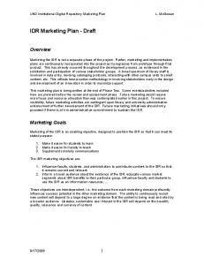 IDR Marketing Plan Draft