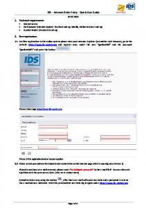 IDS Internet Order Entry Quick User Guide