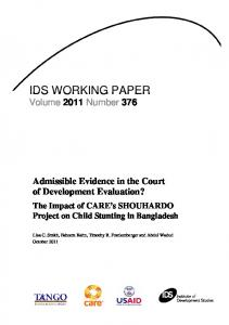 IDS WORKING PAPER Volume 2011 Number 376