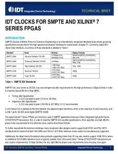 IDT CLOCKS FOR SMPTE AND XILINX 7 SERIES FPGAS