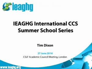 IEAGHG International CCS Summer School Series