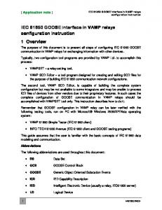 IEC GOOSE interface in VAMP relays configuration instruction 1 Overview