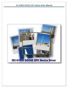 IEC GOOSE OPC Device Driver Manual