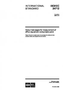 IEC INTERNATIONAL STANDARD. Colour test pages for measurement of office equipment consumable yield