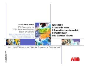 IEC Standardisierter Informationsaustausch in Schaltanlagen und darüber hinaus