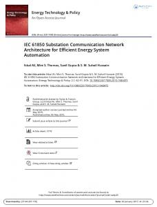 IEC Substation Communication Network Architecture for Efficient Energy System
