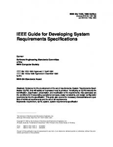 IEEE Guide for Developing System Requirements Specifications