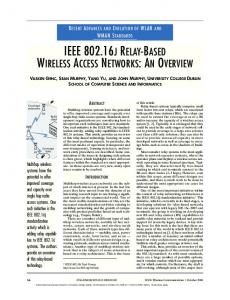 IEEE J RELAY-BASED WIRELESS ACCESS NETWORKS: AN OVERVIEW