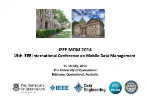 IEEE MDM th IEEE International Conference on Mobile Data Management