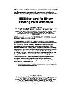IEEE Standard for Binary Floating-Point Arithmetic
