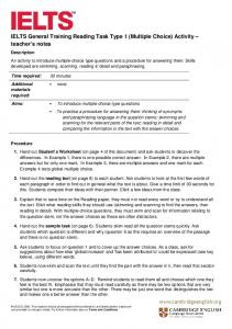 IELTS General Training Reading Task Type 1 (Multiple Choice) Activity teacher s notes