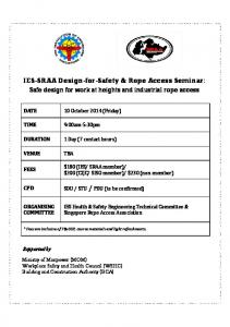 IES-SRAA Design-for-Safety & Rope Access Seminar: