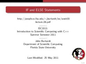 IF and ELSE Statements