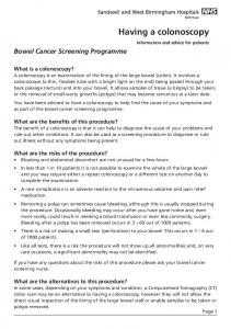 If you have any questions about the risks of this procedure please ask your bowel cancer screening nurse