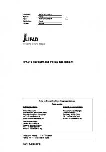 IFAD s Investment Policy Statement