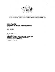 IFBB RULES SECTION 2: MEN S BODYBUILDING