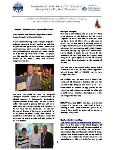 IFOMPT Newsletter December 2012