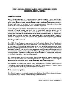 IFSW AFRICA REGIONAL REPORT FOR 2016 GENERAL MEETING, SEOUL, KOREA