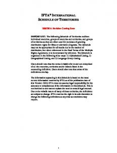 IFTA INTERNATIONAL SCHEDULE OF TERRITORIES
