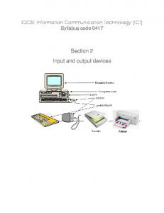 IGCSE Information Communication Technology (ICT) Syllabus code Section 2 Input and output devices
