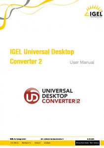 IGEL Universal Desktop Converter 2. User Manual