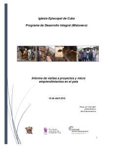 Iglesia Episcopal de Cuba. Programa de Desarrollo Integral (Misionero)