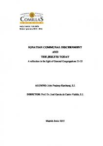 IGNATIAN COMMUNAL DISCERNMENT AND THE JESUITS TODAY