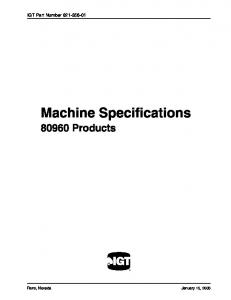 IGT Part Number Machine Specifications Products