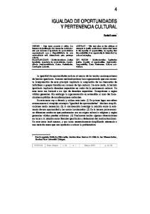 IGUALDAD DE OPORTUNIDADES Y PERTENENCIA CULTURAL