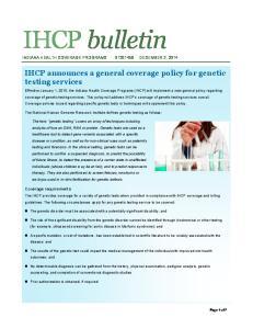 IHCP bulletin INDIANA HEALTH COVERAGE PROGRAMS BT DECEMBER 2, 2014