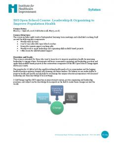 IHI Open School Course: Leadership & Organizing to Improve Population Health