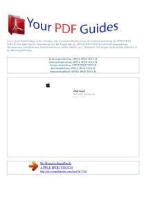 Ihr Benutzerhandbuch APPLE IPOD TOUCH