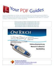 Ihr Benutzerhandbuch LIFESCAN ONETOUCH ULTRA EASY