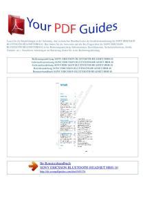 Ihr Benutzerhandbuch SONY ERICSSON BLUETOOTH-HEADSET HBH-10