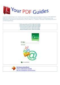 Ihr Benutzerhandbuch SONY ERICSSON K800I